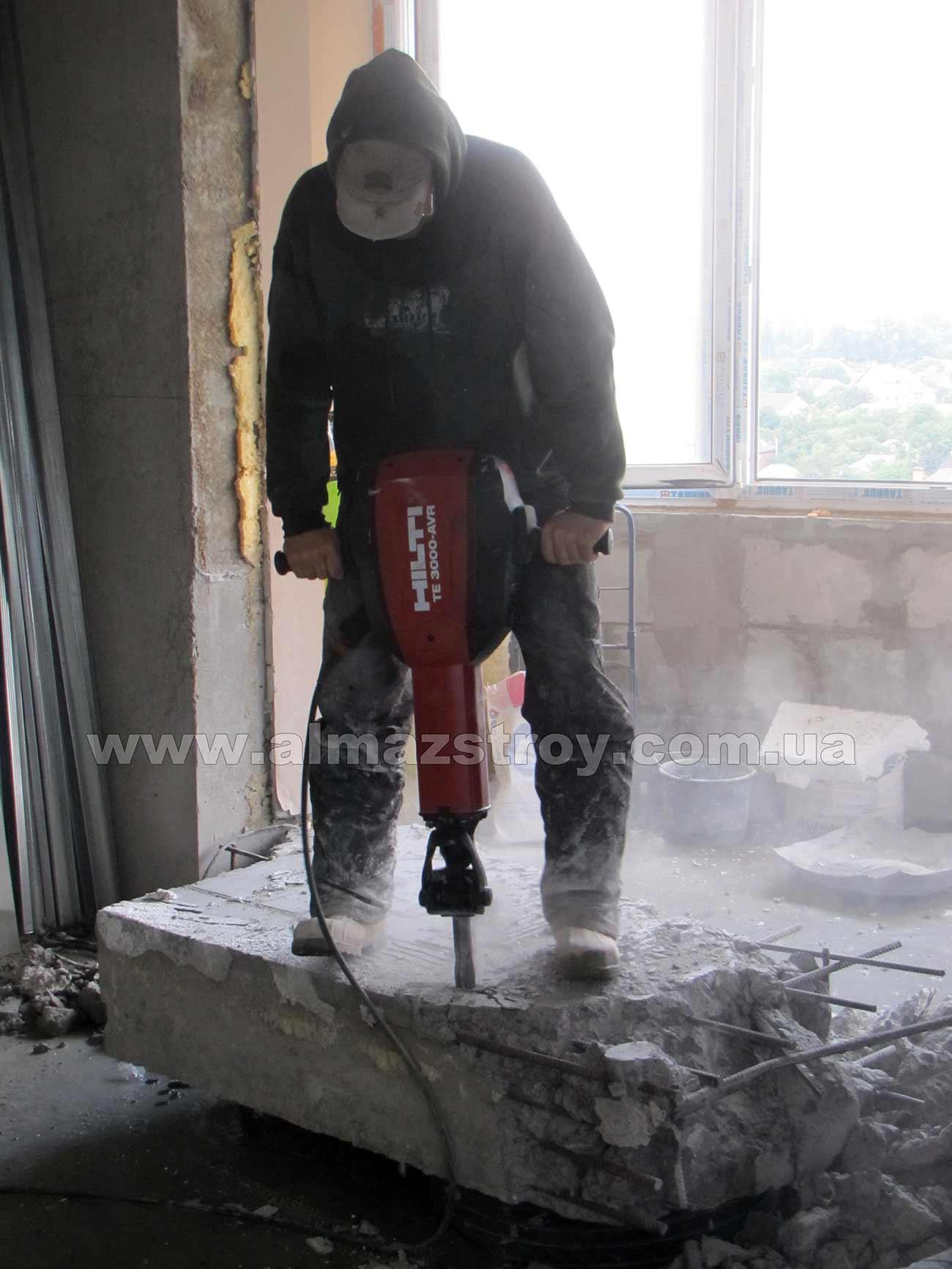 демонтаж бетона отбойным молотком Харьков