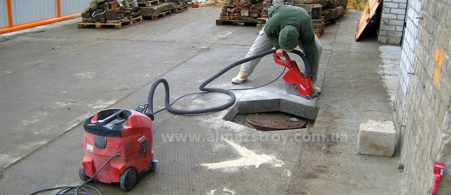 алмазная резка плит, алмазная резка бетона с пылесосом